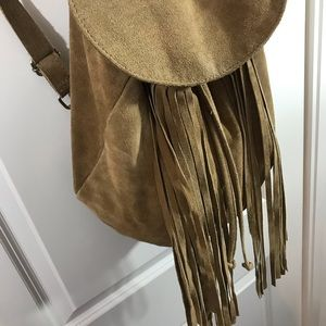 Aphorism Accessories - Aphorism Tan Leather Fringe Drawstring Backpack